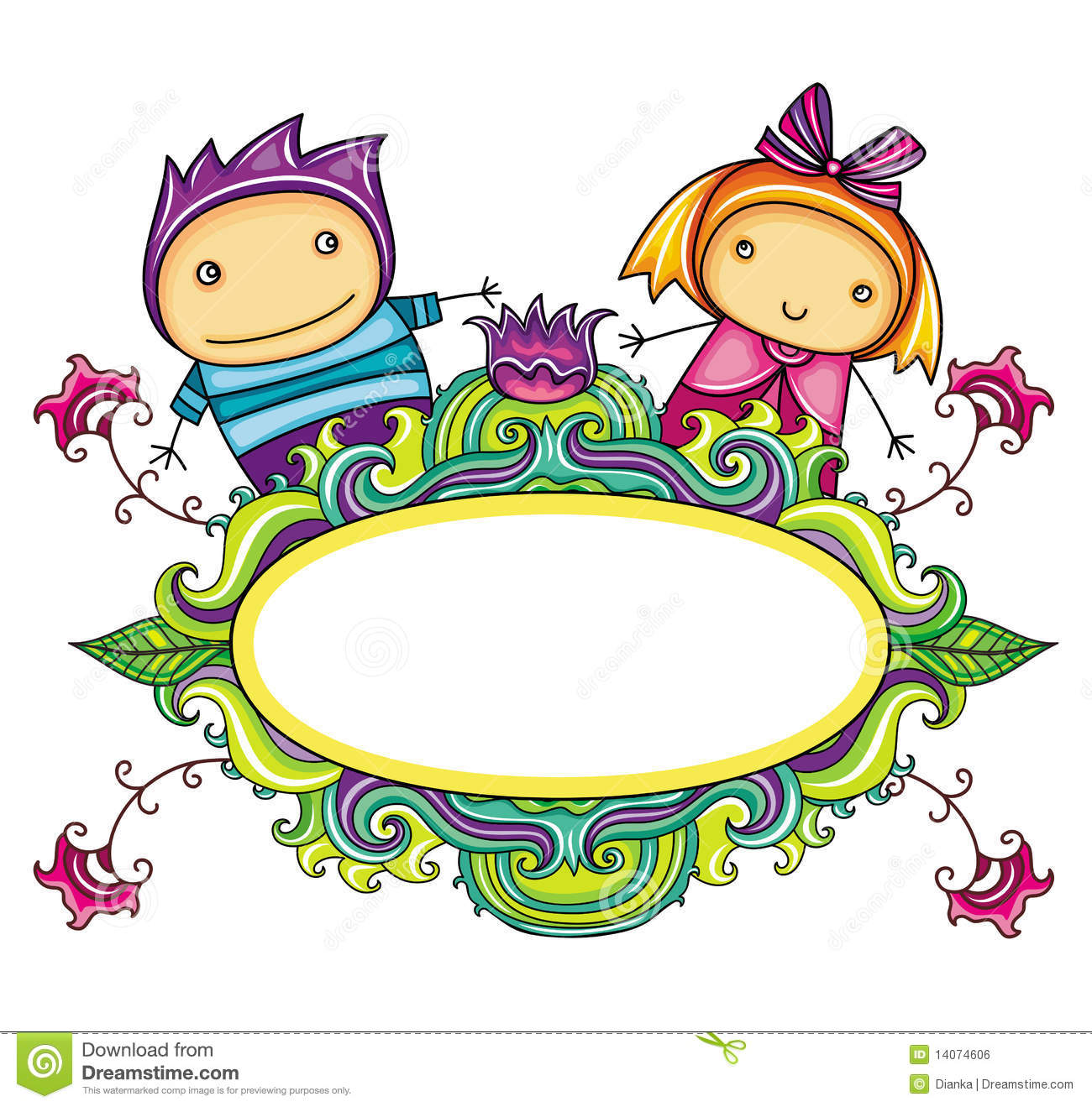 Floral Curly Frame With Cute Boy And Girl Floral Stock Vector