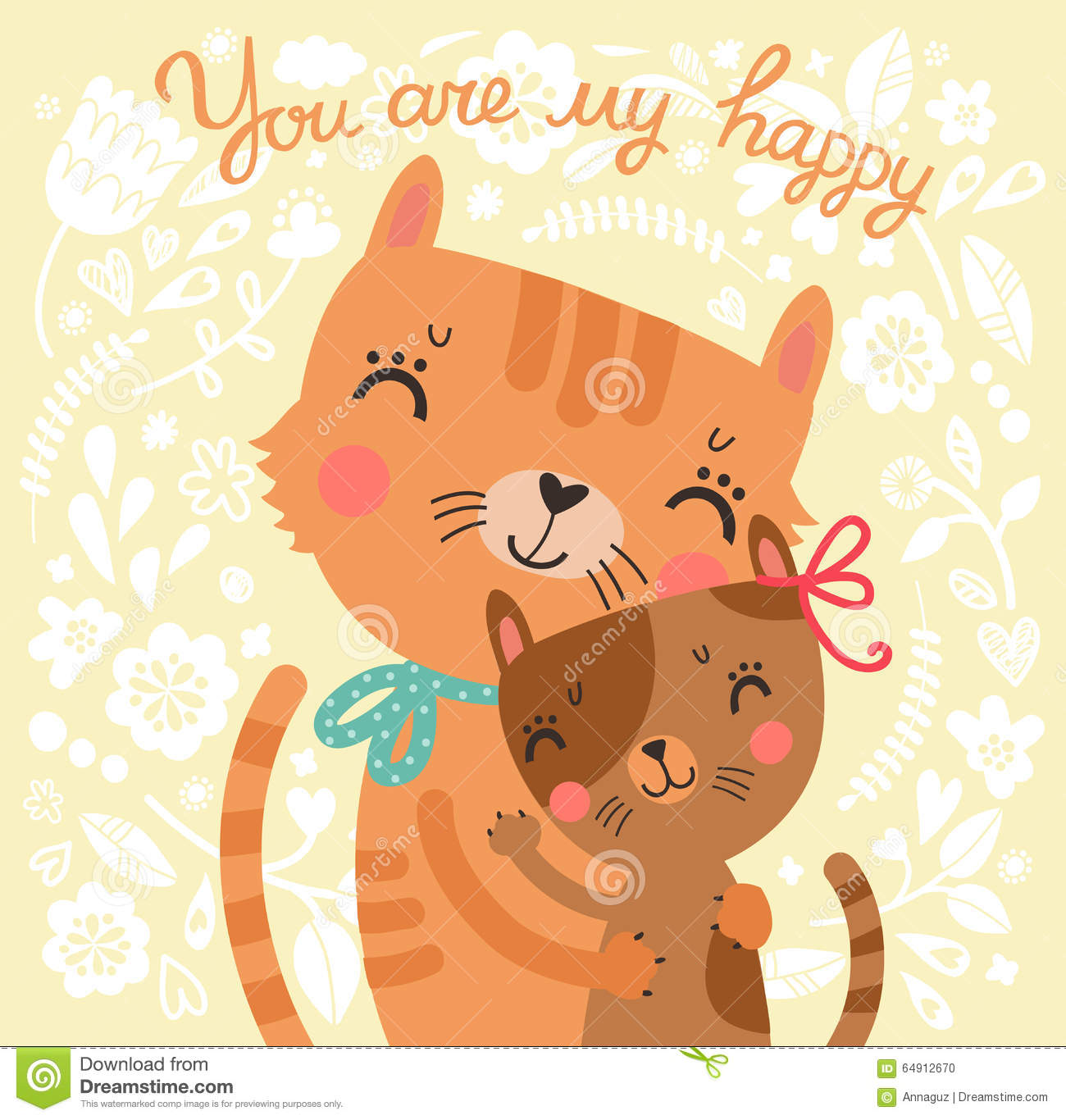 floral cute background with mother cat and baby cat stock