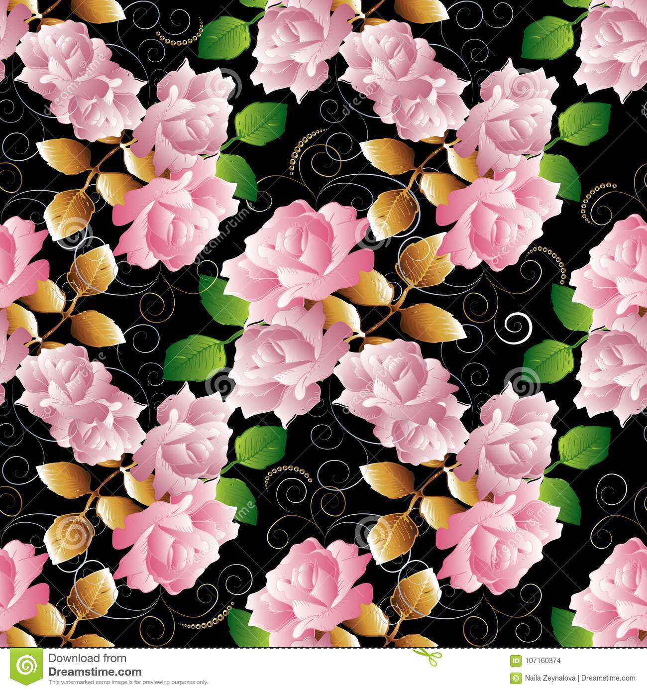 Floral 3d Roses Seamless Pattern Vector Black Background Wallpa