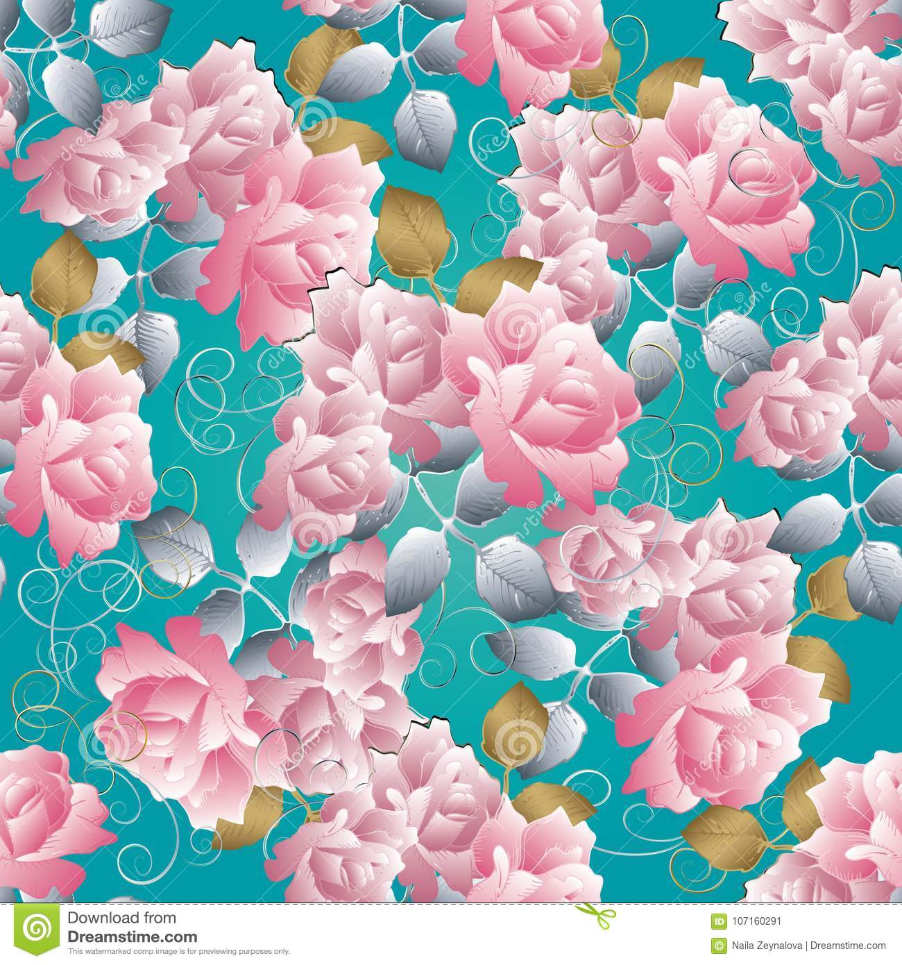 Floral 3d Roses Seamless Pattern Vector Blue Background Roses