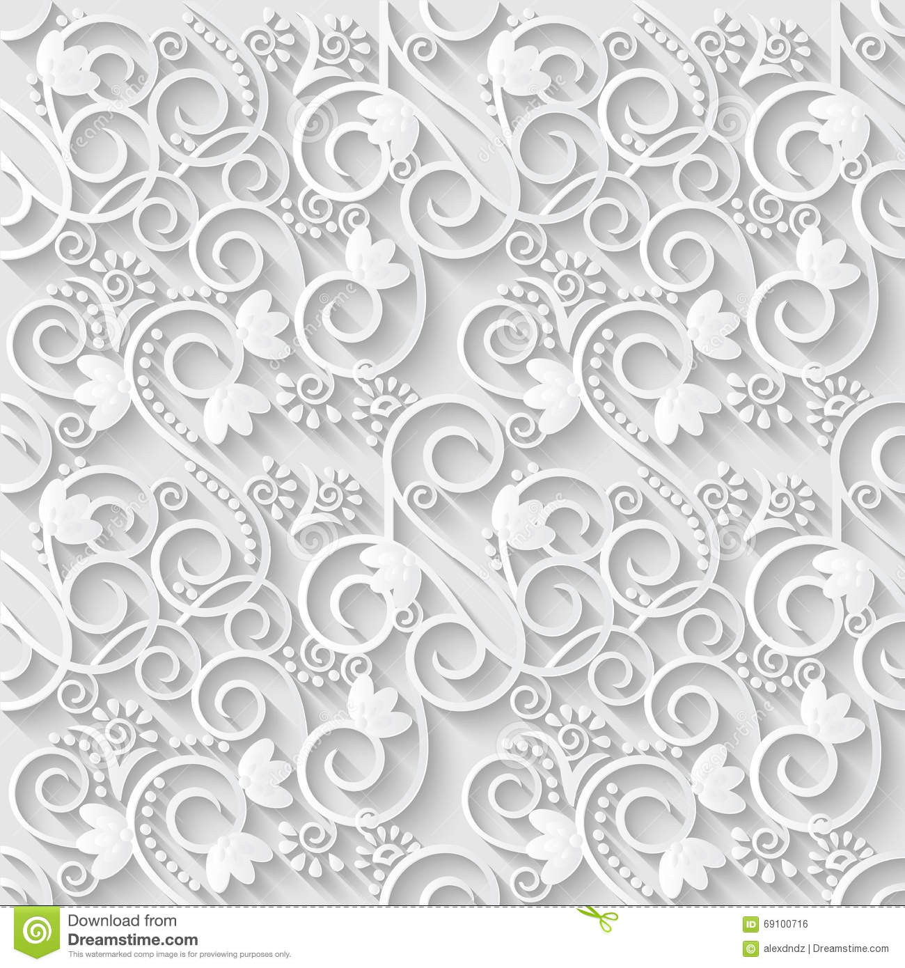 Floral 3d white paper pattern background vector for 3d paper wallpaper