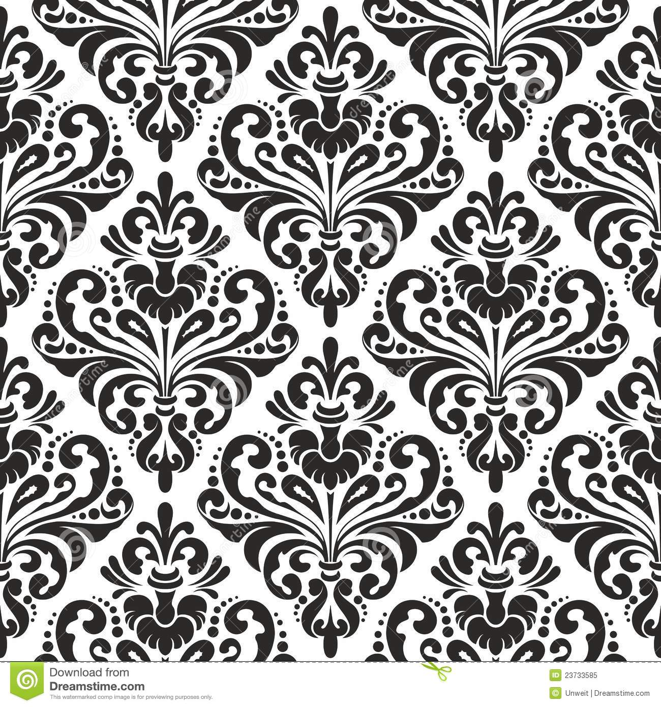 Floral Damask Wallpaper Stock Vector Illustration Of Seamless