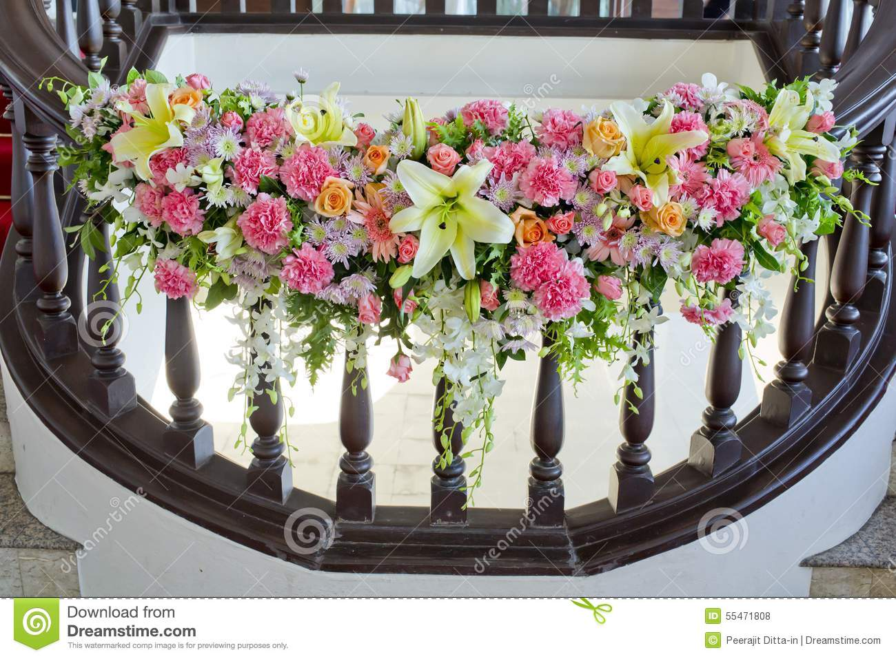 Floral decorate in handrail of stairs at the wedding stock photo floral decorate in handrail of stairs at the wedding junglespirit Image collections
