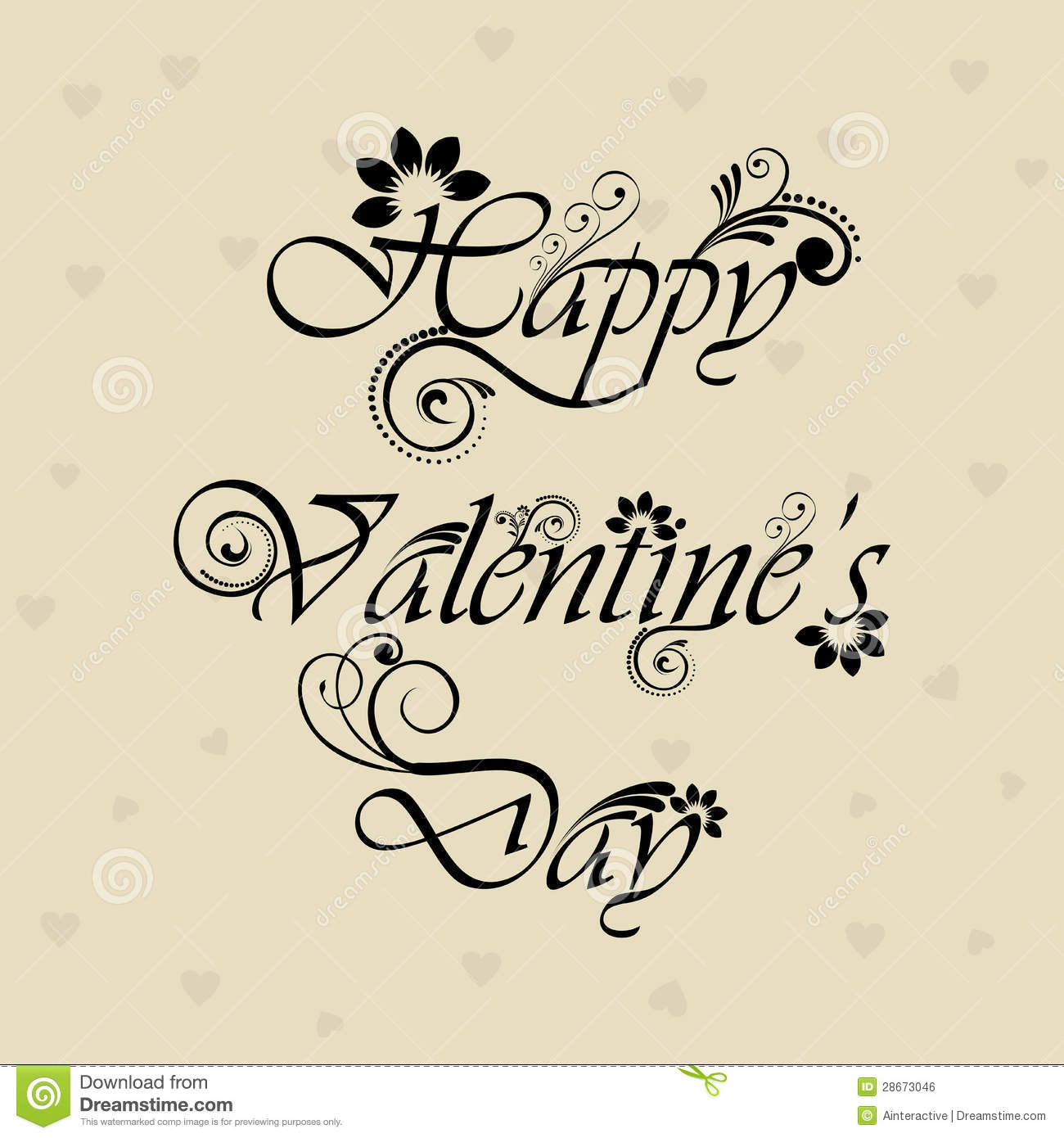 floral decorated happy valentines day text