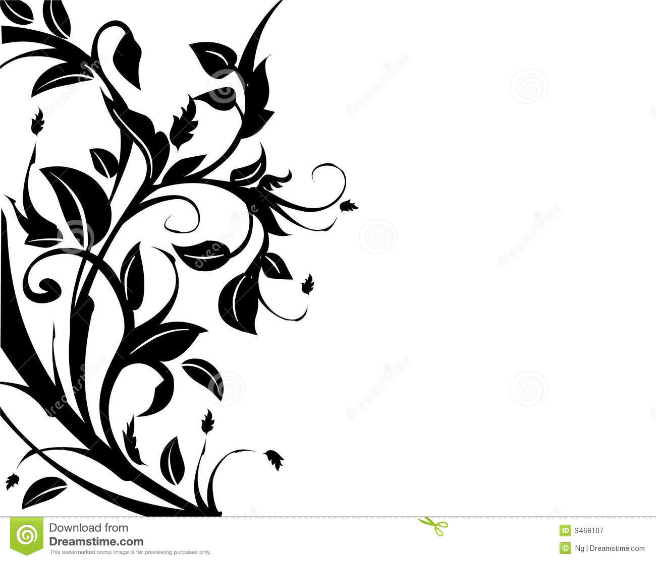 Decorative Black Flower Border Stock Image: Floral Decorative Border Royalty Free Stock Photography
