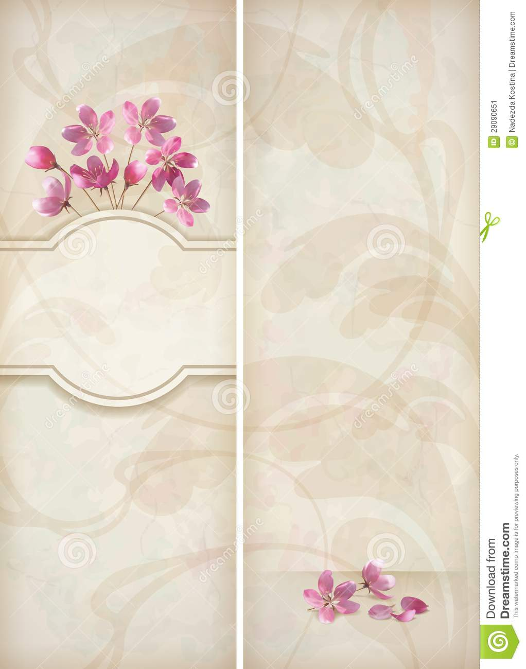 floral decorative wedding menu template design stock image