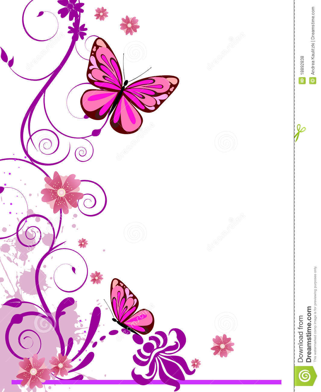 Illustration of colorful floral elements, flowers and butterfly.