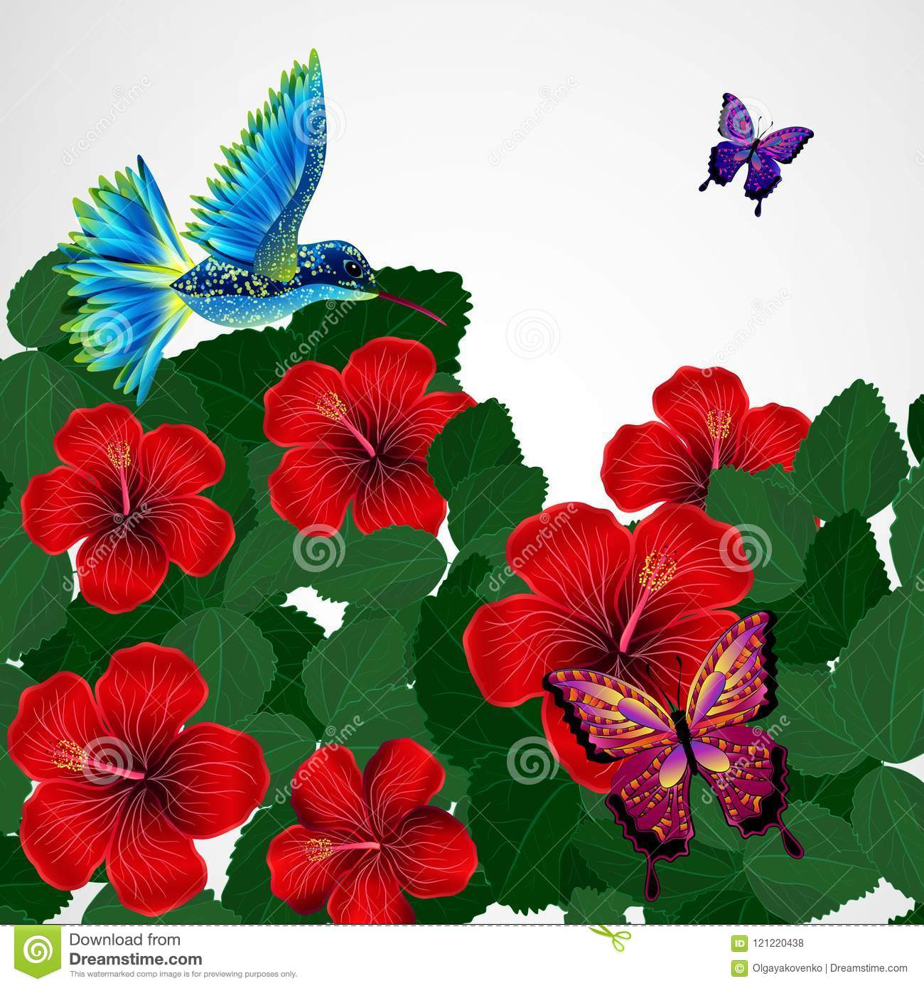 Floral Design Background Hibiscus Flowers With Bird Butterflie