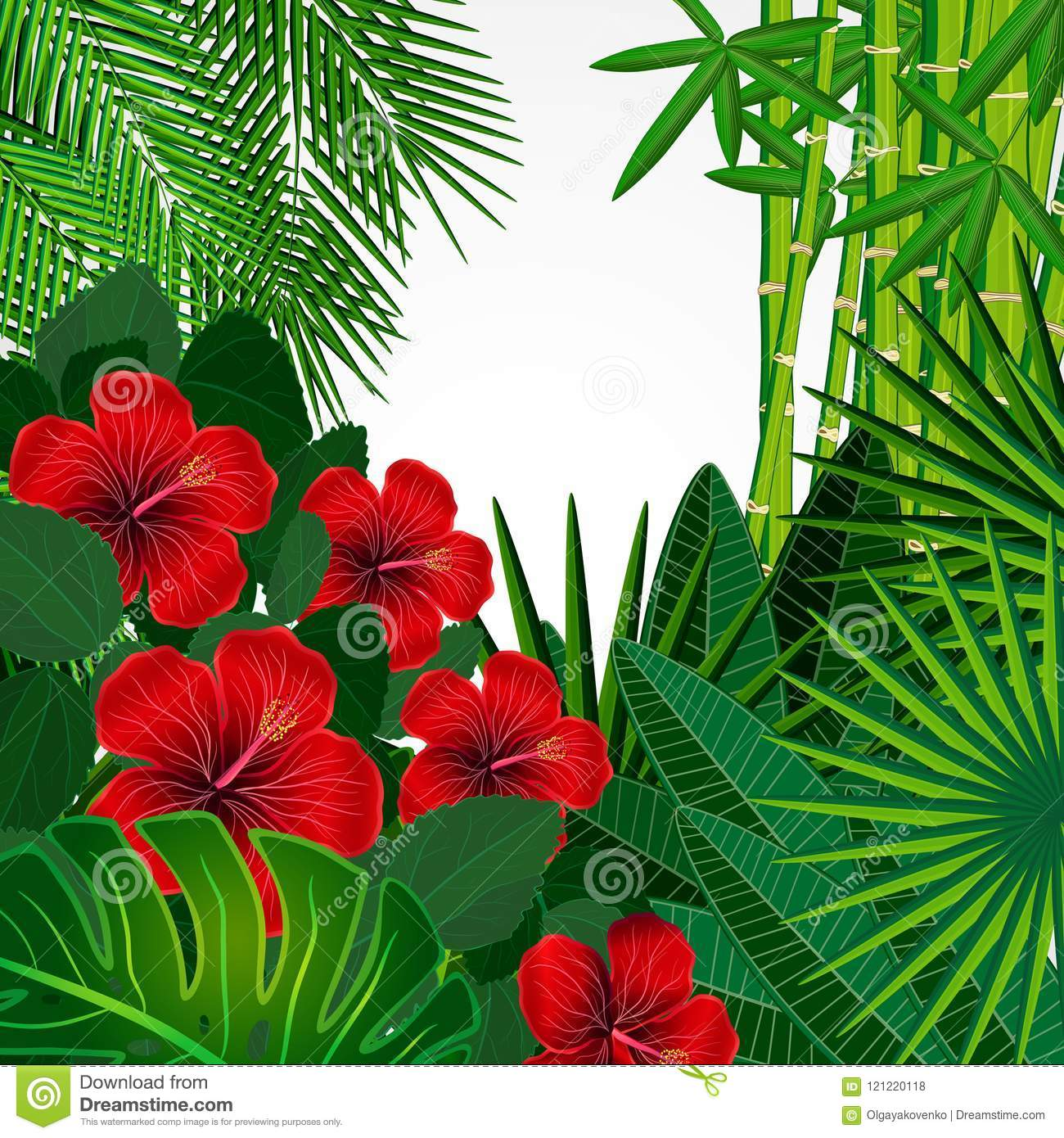Floral Design Background Hibiscus Flowers Stock Vector