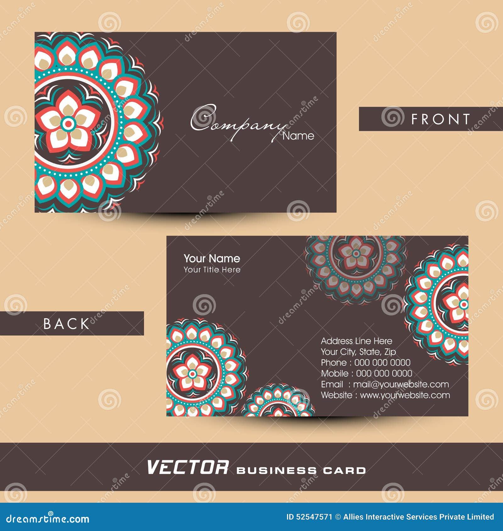 Floral Design Decorated Business Or Visiting Card Design ...