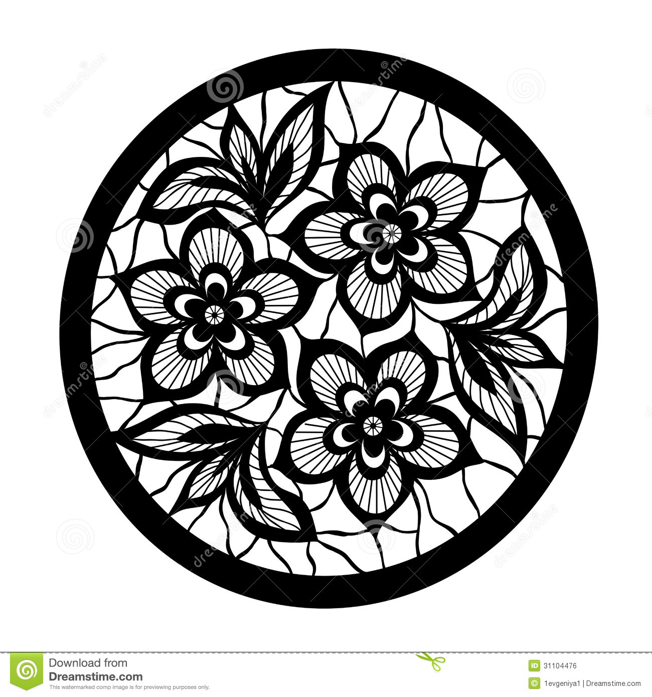 Set Of Black Flower Design Elements Royalty Free Stock: Floral Design Element. Flowers With Imitation Lace And