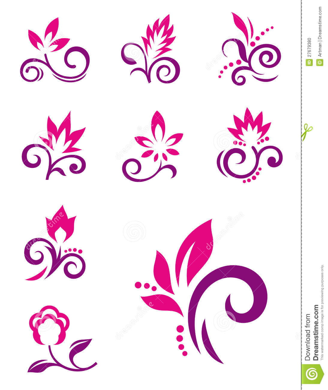 Floral Design Elements. Vector Flower Icons Stock Photo - Image ...