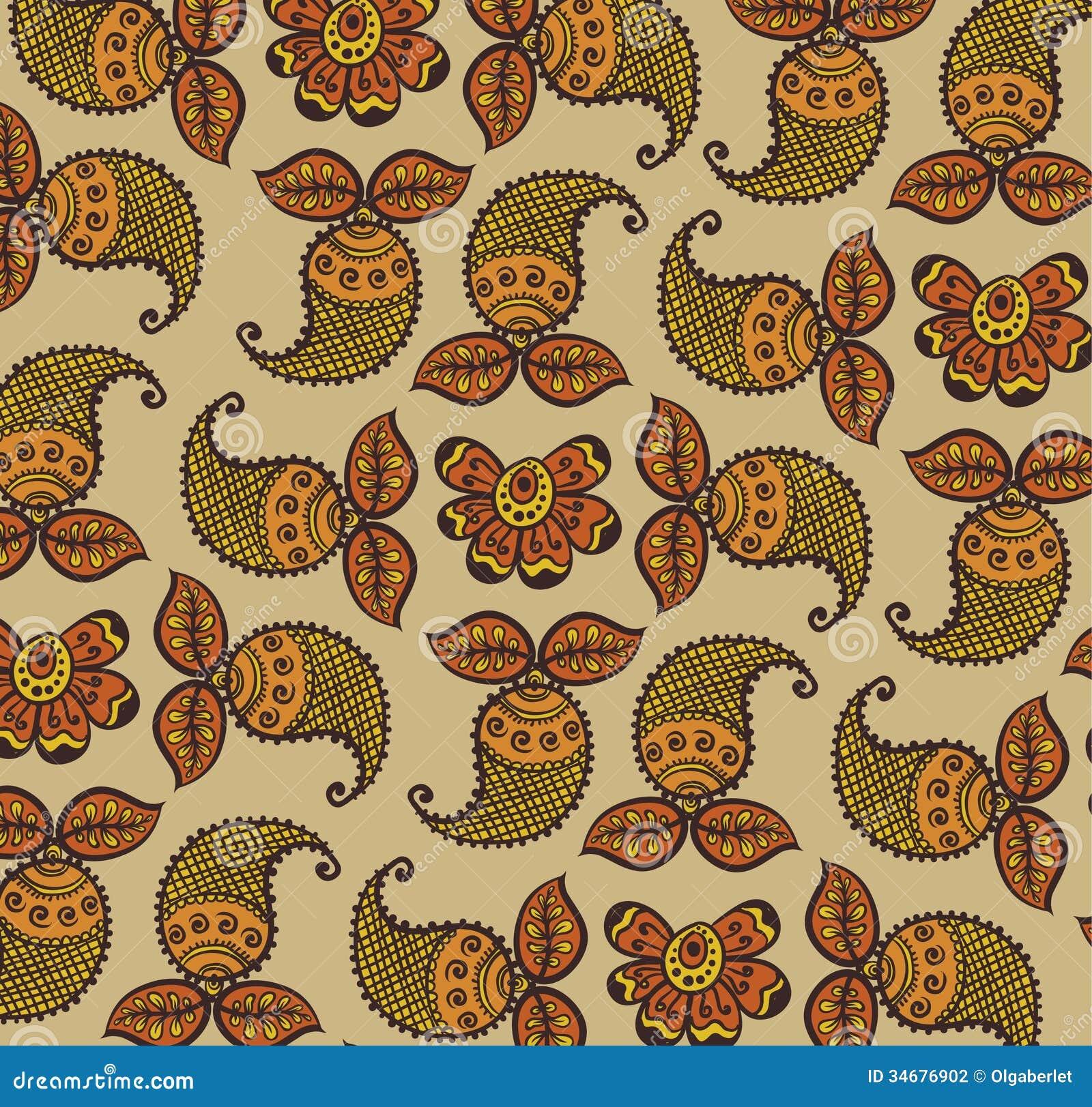 Henna Wallpaper: Floral Design Henna Stock Photography