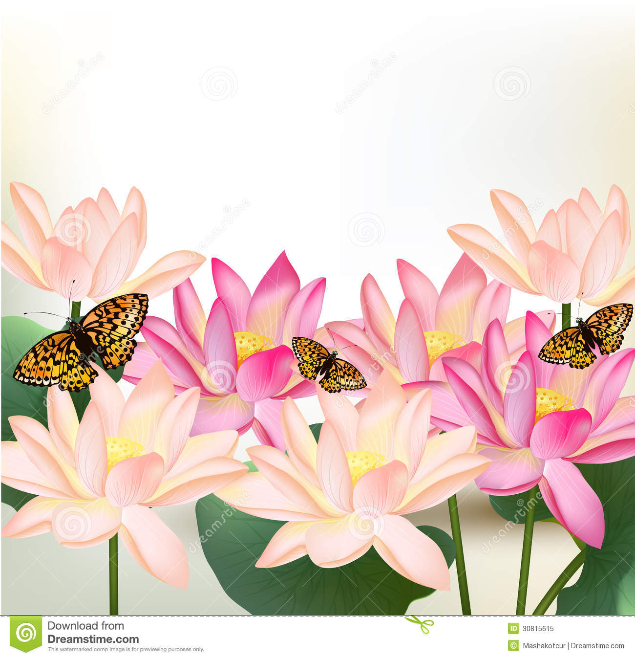 Floral Design With Vector Pink Lotus Flowers Stock Vector