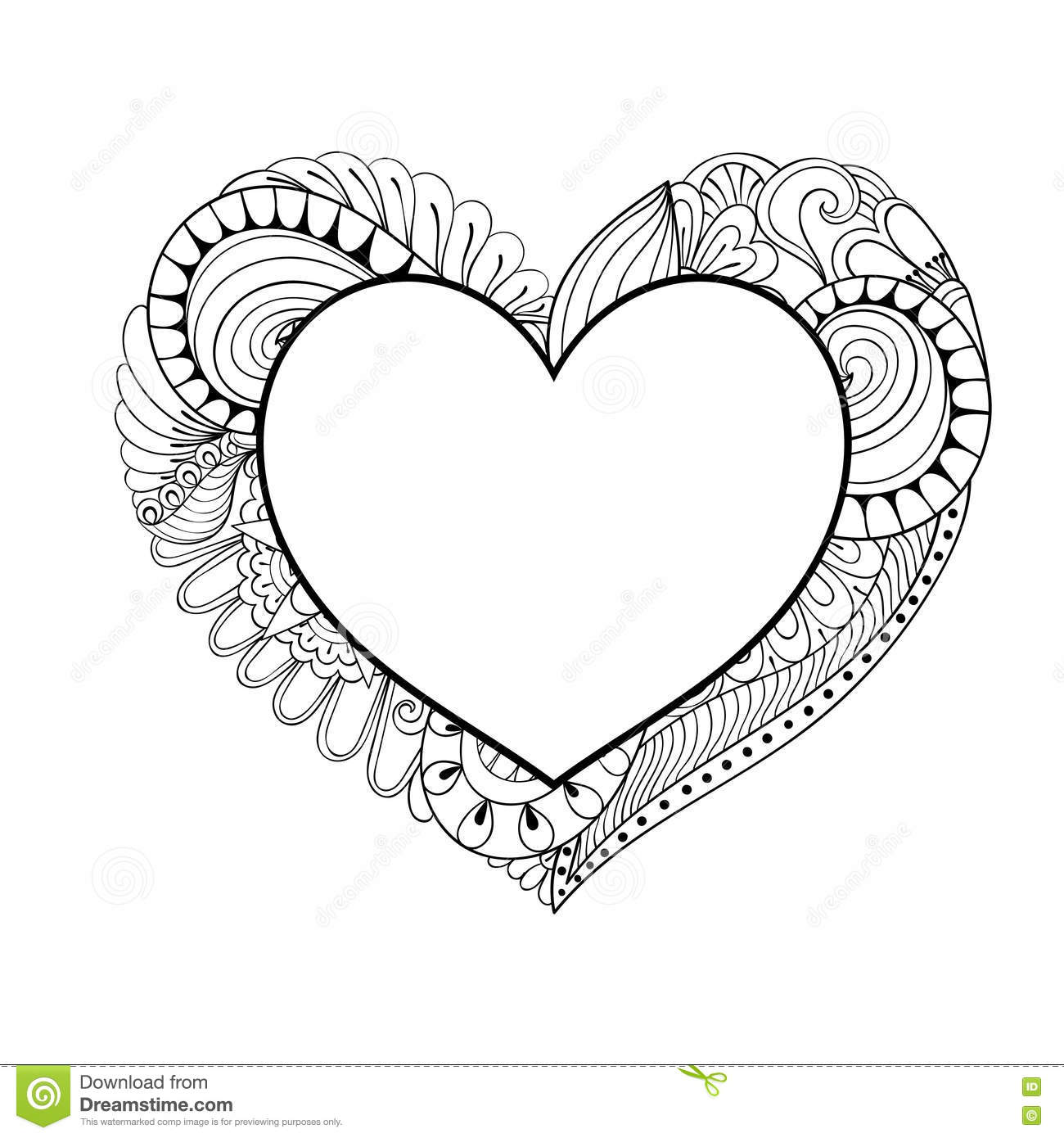 doodle heart coloring page floral doodle frame in zentangle style for 4277