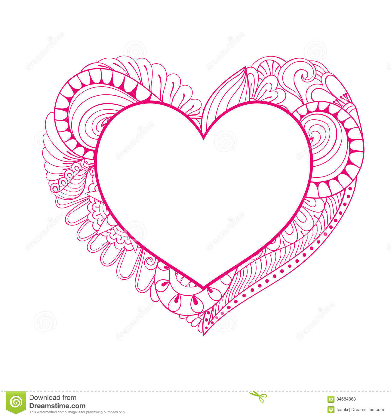 floral doodle pink heart frame in zentangle style for adult colo stock vector - Free Colo