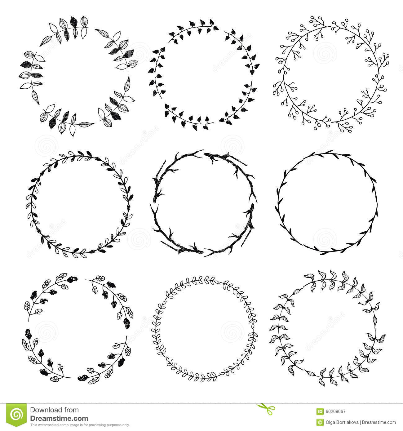 Floral Doodle Wreaths Stock Vector Illustration Of