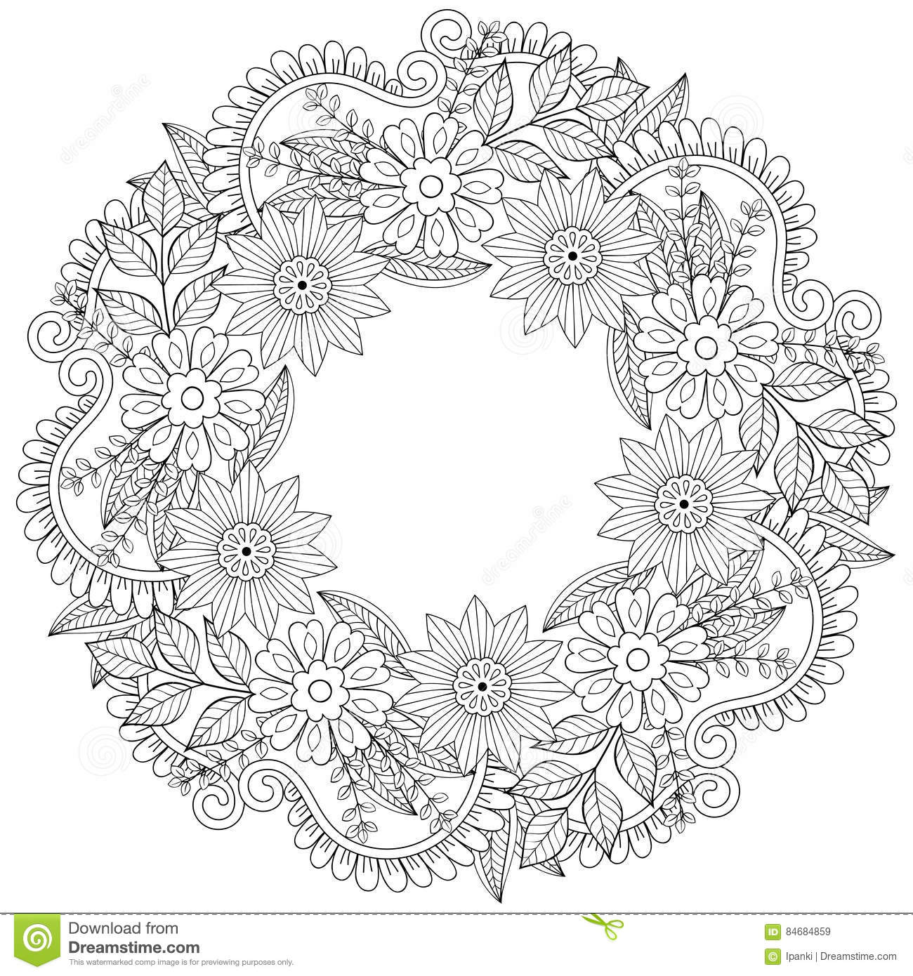 floral adult coloring pages - floral doodles wreath in zentangle style vector circle
