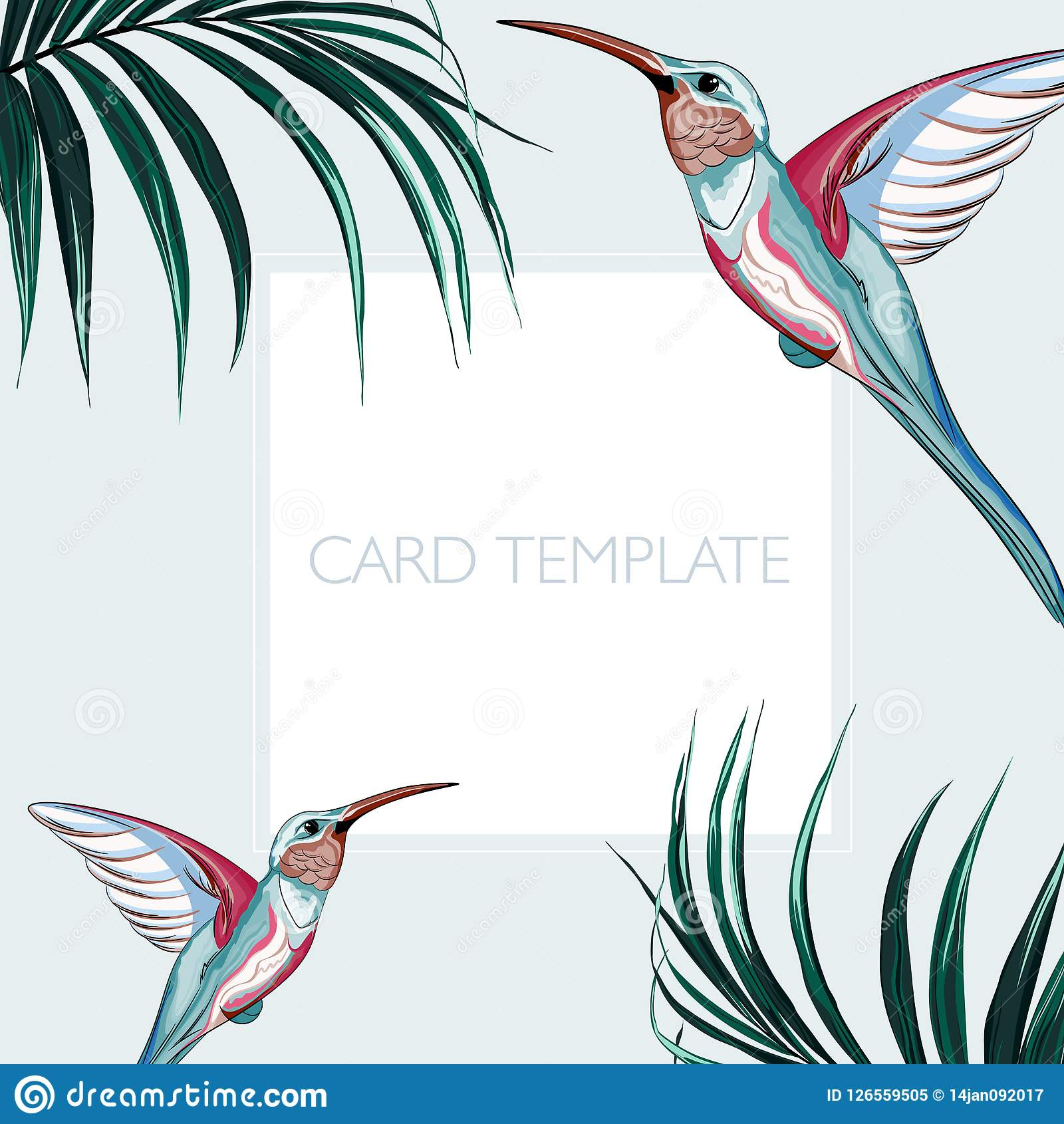 Floral elegant invite card design: tropical palm leaves and paradise pink birds.