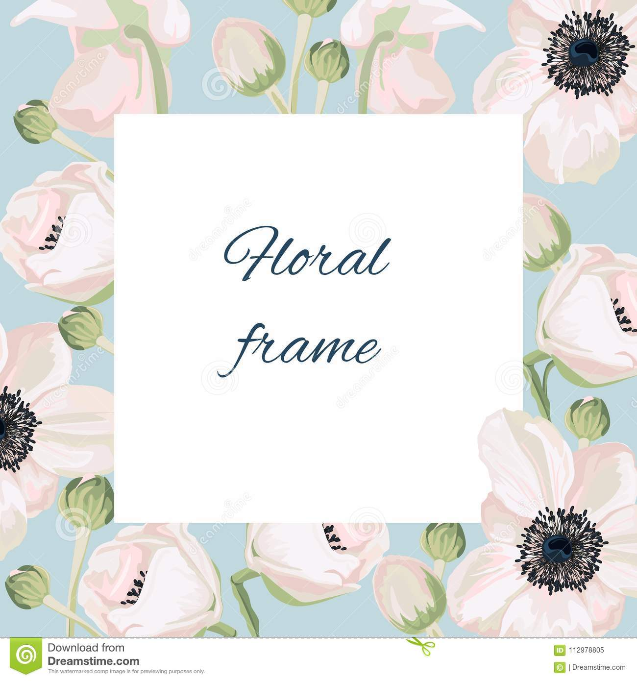 Vintage vector frame with summer flowers in pastel colors.