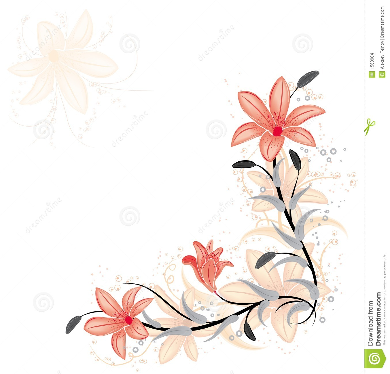 Floral Element For Design With Lily, Vector Stock Images - Image ...