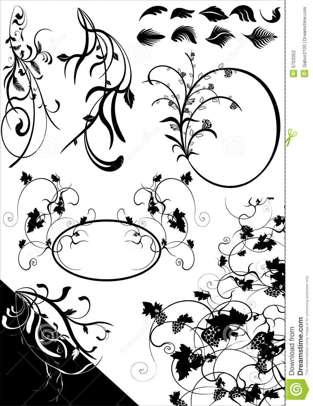 FLORAL ELEMENTS cdr stock vector  Illustration of retro