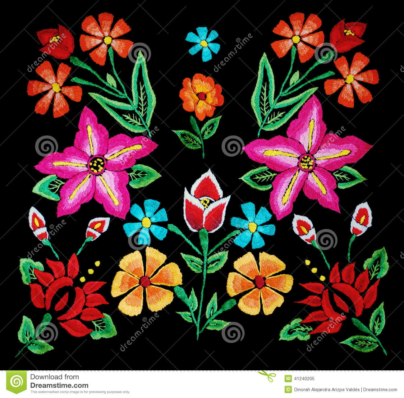 Floral embroidery on black stock photo image