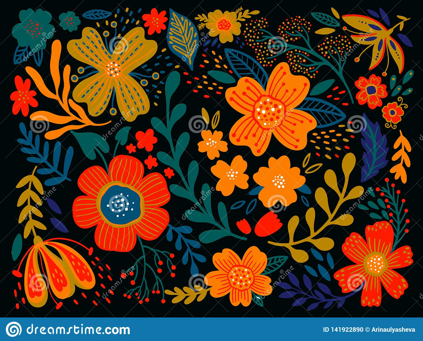 Floral Ethno Wild Folk Flowers In Black Background Set Of Country
