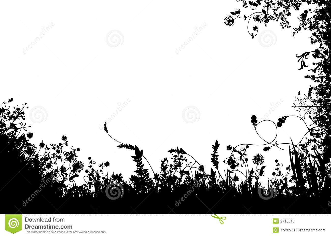 Floral Fields Silhouette Royalty Free Stock Photo Image