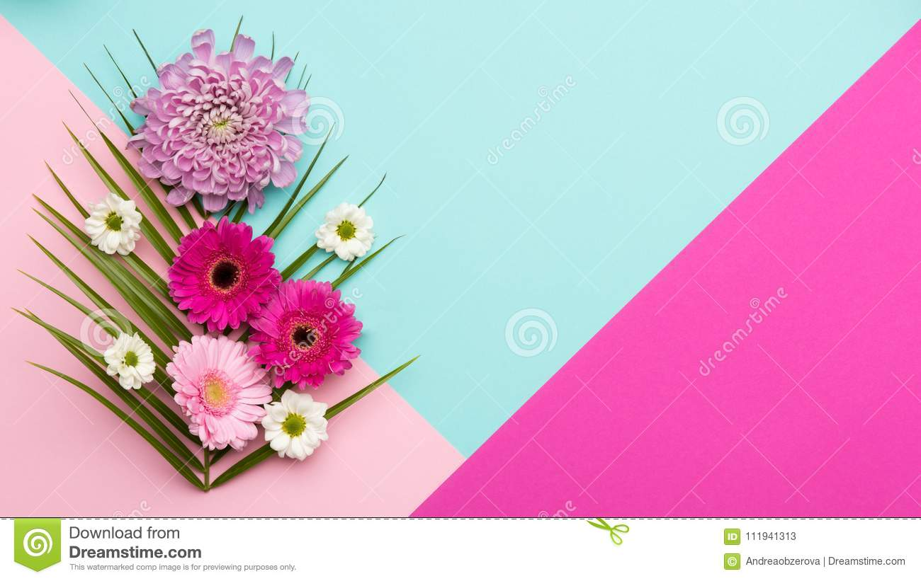 Floral flat lay Happy Mother`s Day, Women`s Day, Valentine`s Day or Birthday background.