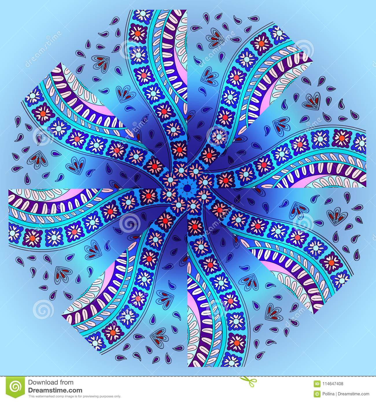 picture relating to Umbrella Pattern Printable named Spherical Habit Umbrella Blue And Paisley Vibrant Inventory