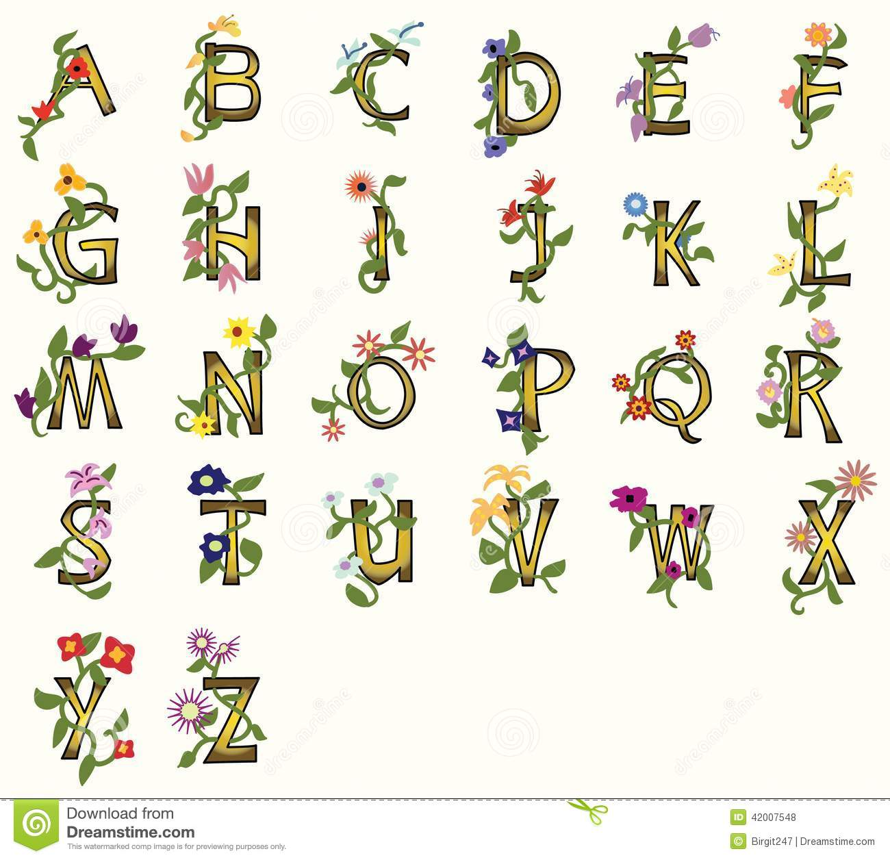 Pretty capital fonts decorated with vines, flowers, leaves.