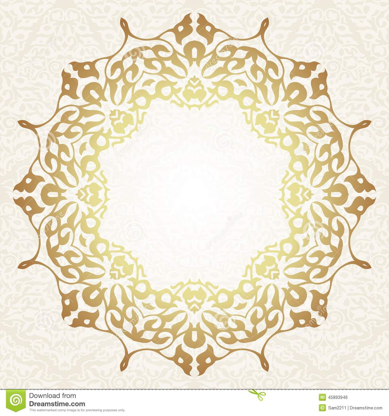 Floral Frame Background In Arabic Motif Stock Vector