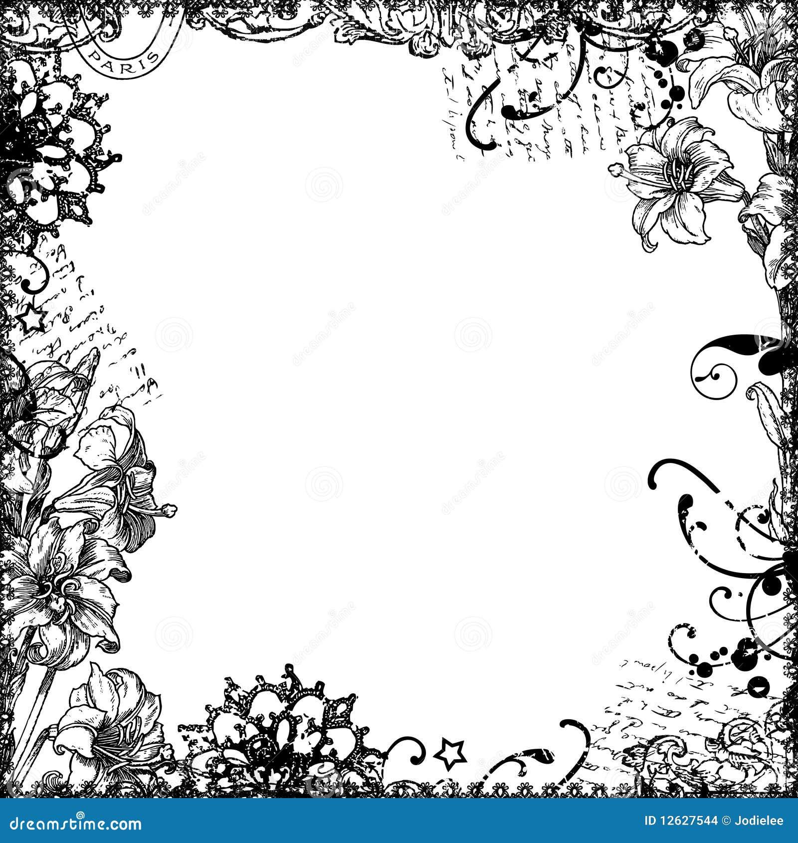 Floral Frame Background Or Overlay Stock Images