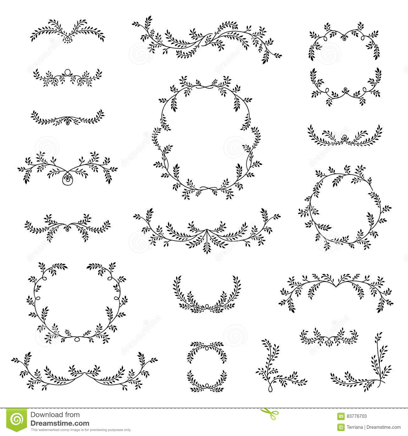 Floral frame border wreath dividers calligraphic