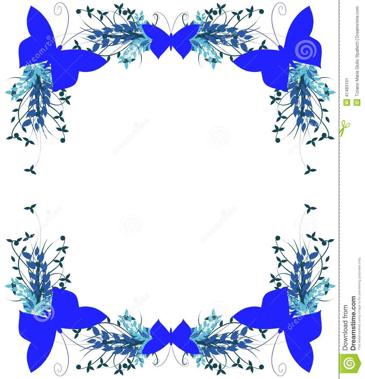 Floral Frame With Butt...Clipart Flowers And Butterflies Border