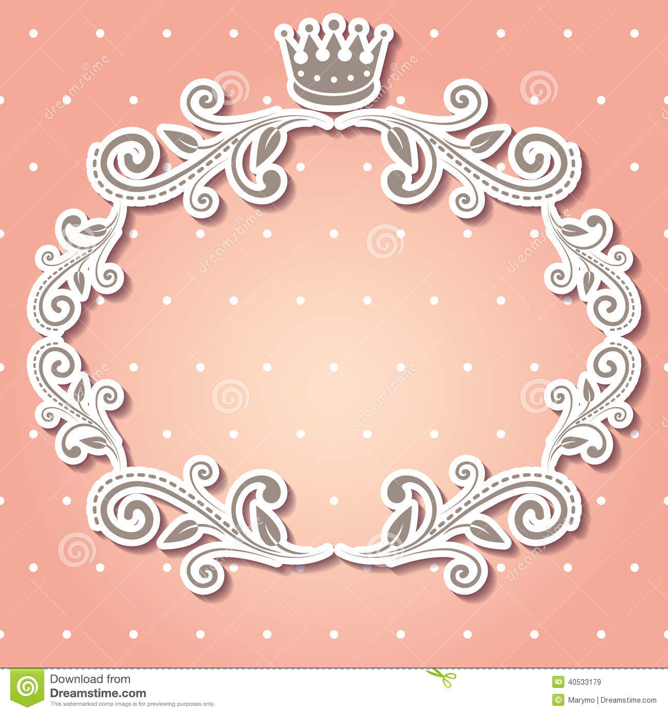 floral frame with crown for your photo or sample text cute pale pink