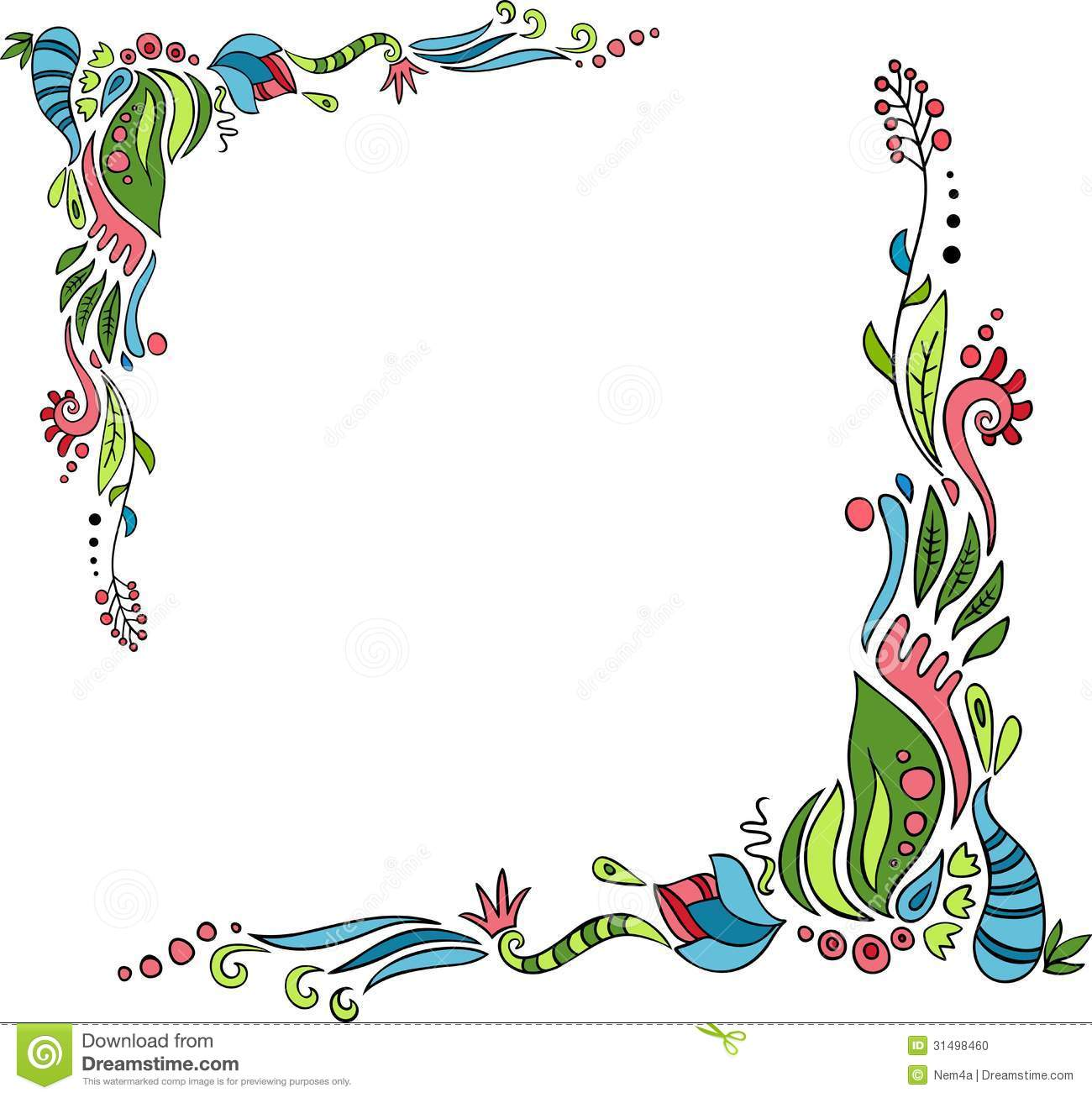 Frame Design Line Art : Floral frame stock vector illustration of color blossom