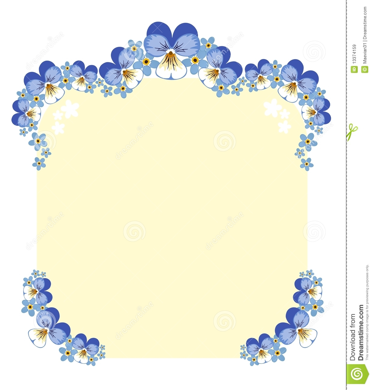 Floral Frame - Pansies And Forget-me-nots Royalty Free