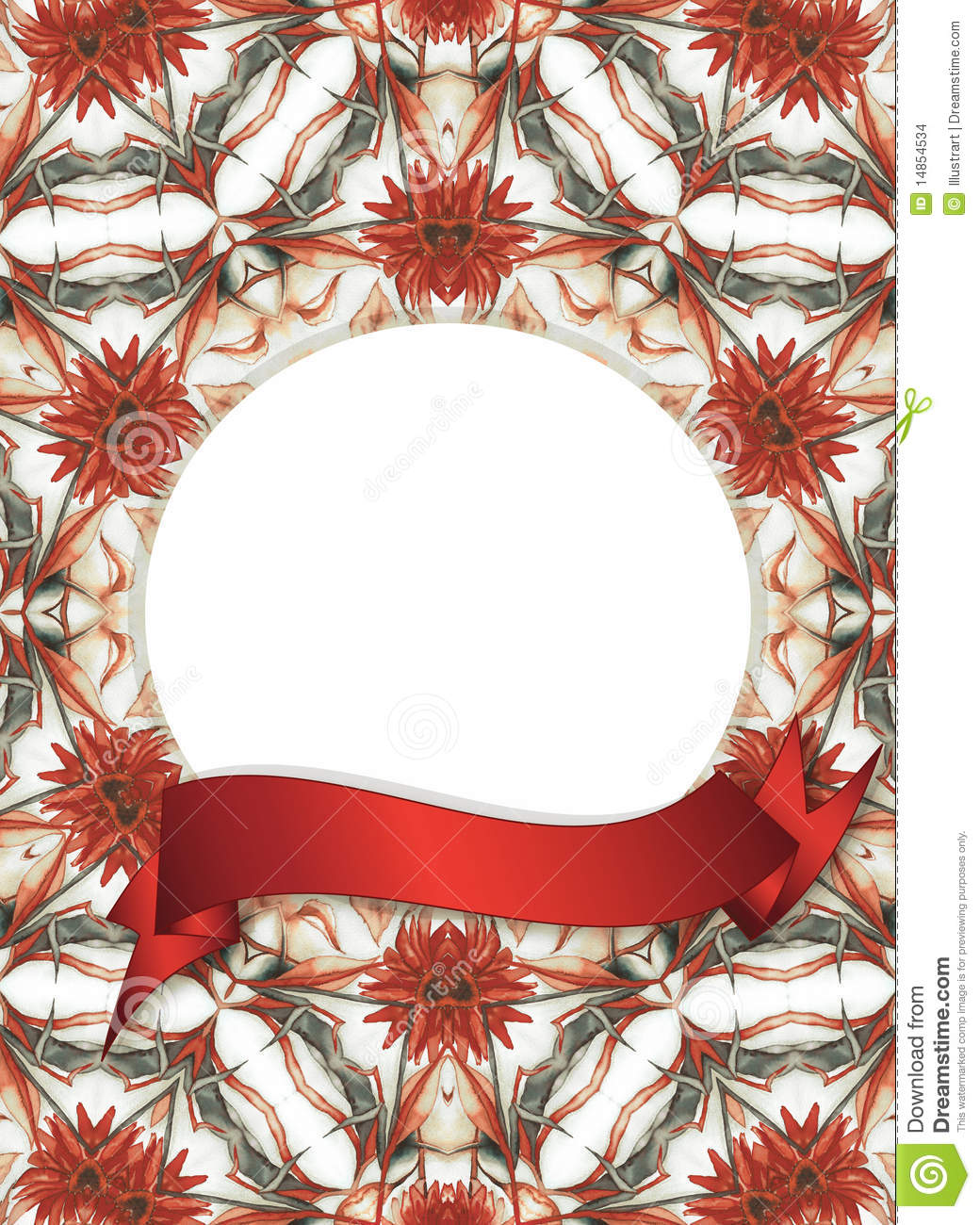 Floral frame with red banner