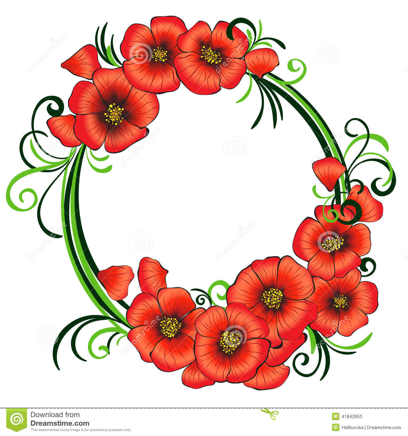 Floral Frame With Red Poppies And Green Swirls. Stock ...