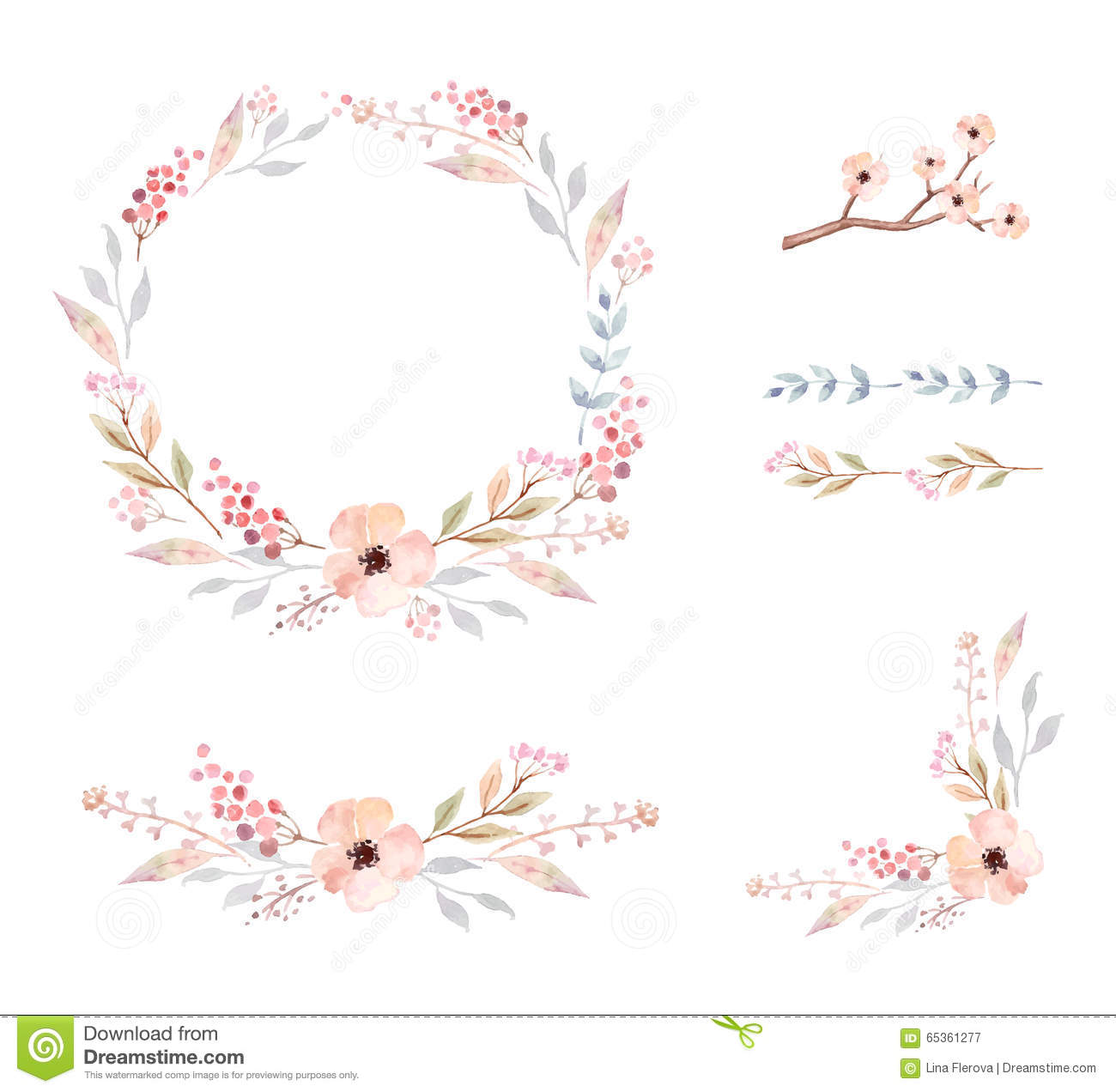 Floral Frame. Set of cute watercolor flowers.