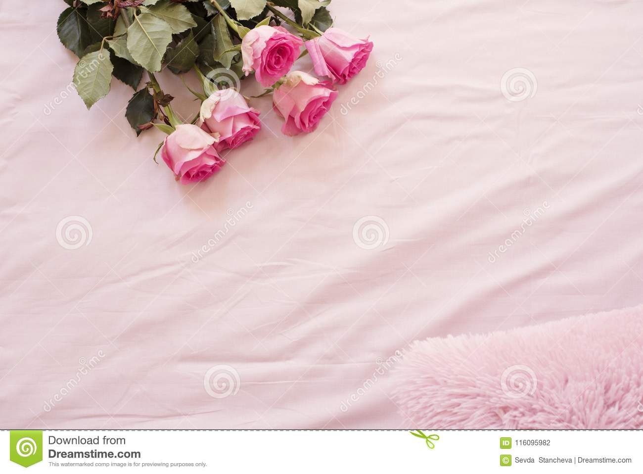Download Floral Frame With Stunning Pink Roses On Pink Bed Sheets In The  Bedroom. Copy