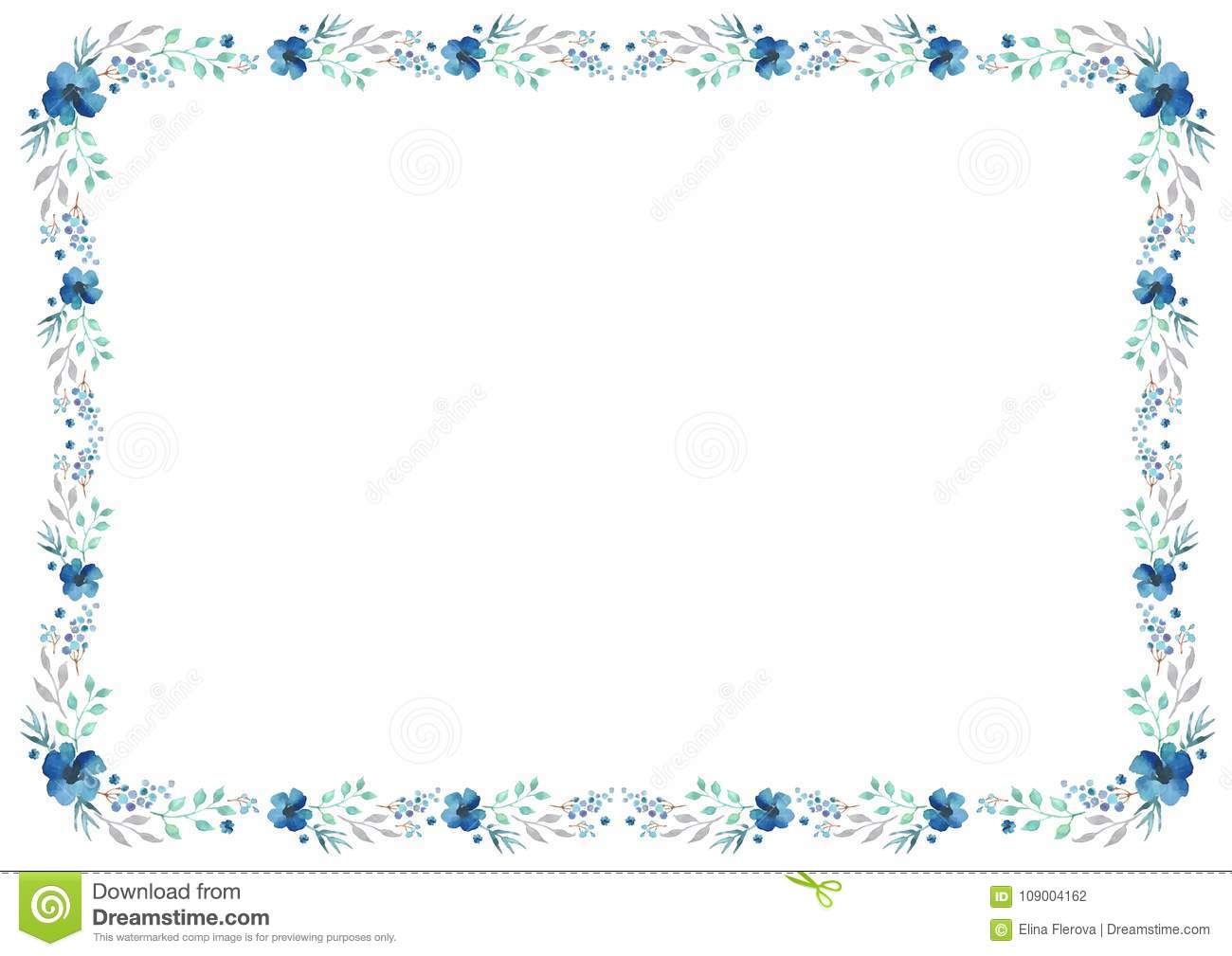 floral frame template with blue flowers and swirly leaves on white