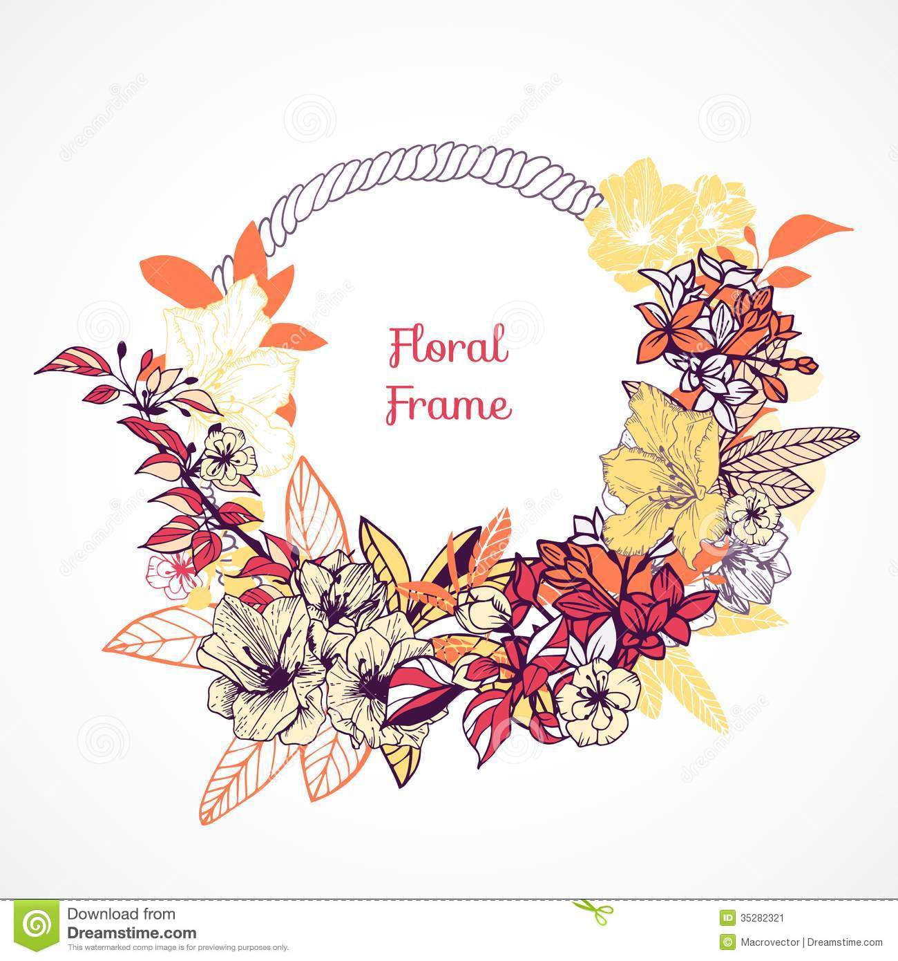 Floral Frame Template Stock Image - Image: 35282321
