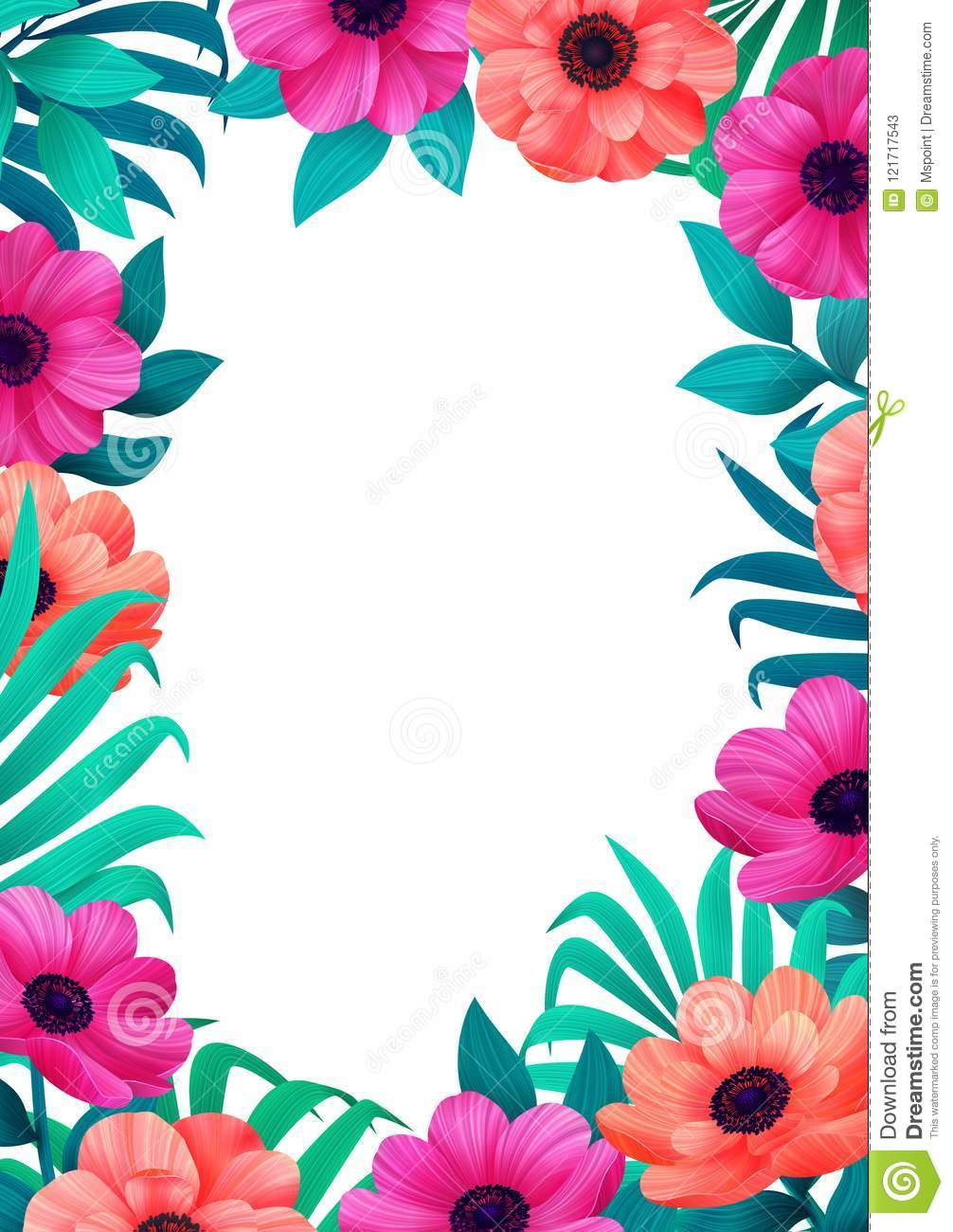 floral frame tropical flowers trendy template vertical design with beautiful flowers and palm leaves