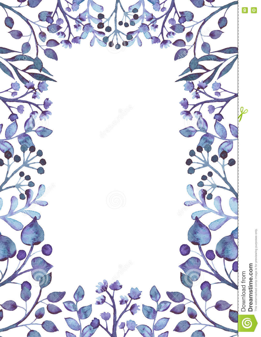 Floral Frame With Watercolor Deep Violet Branches