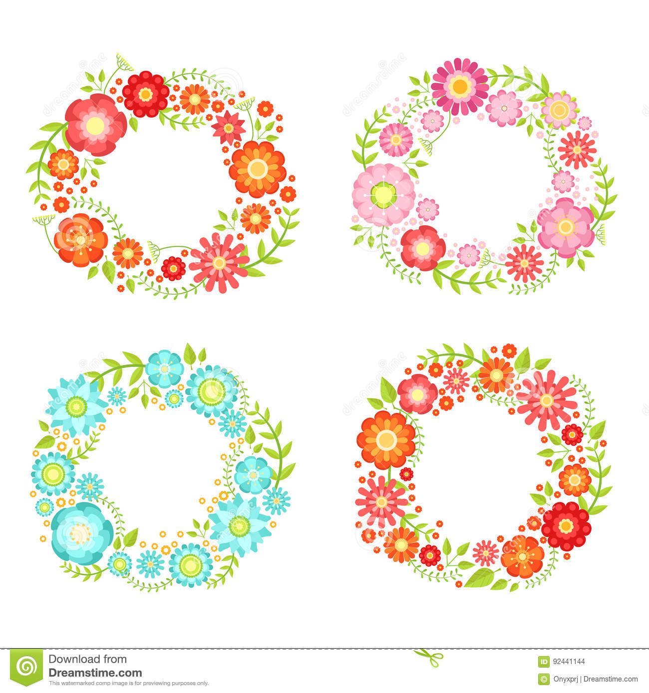 b42d4a438d Floral frames in circle shapes with place for your text. Vector vintage  collection. Frame of circle color flower