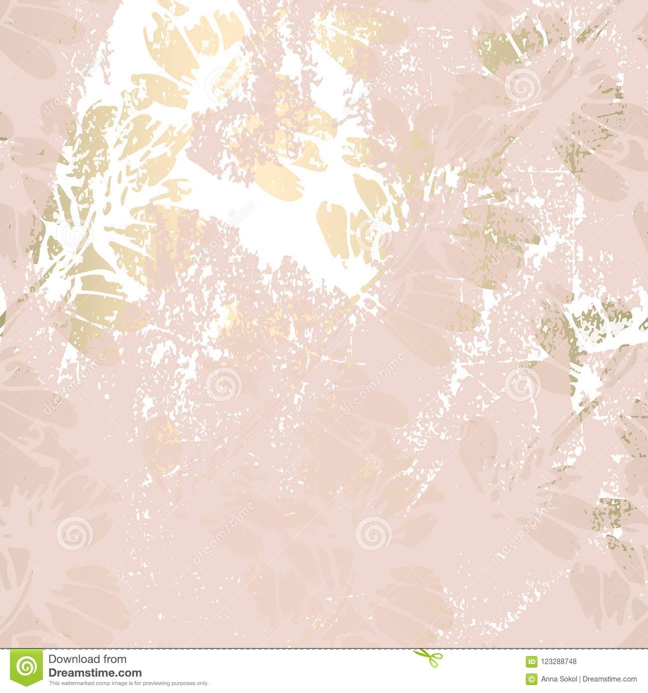 Muted Blue And Floral Red: Floral Gold Patina Blush Background Stock Illustration