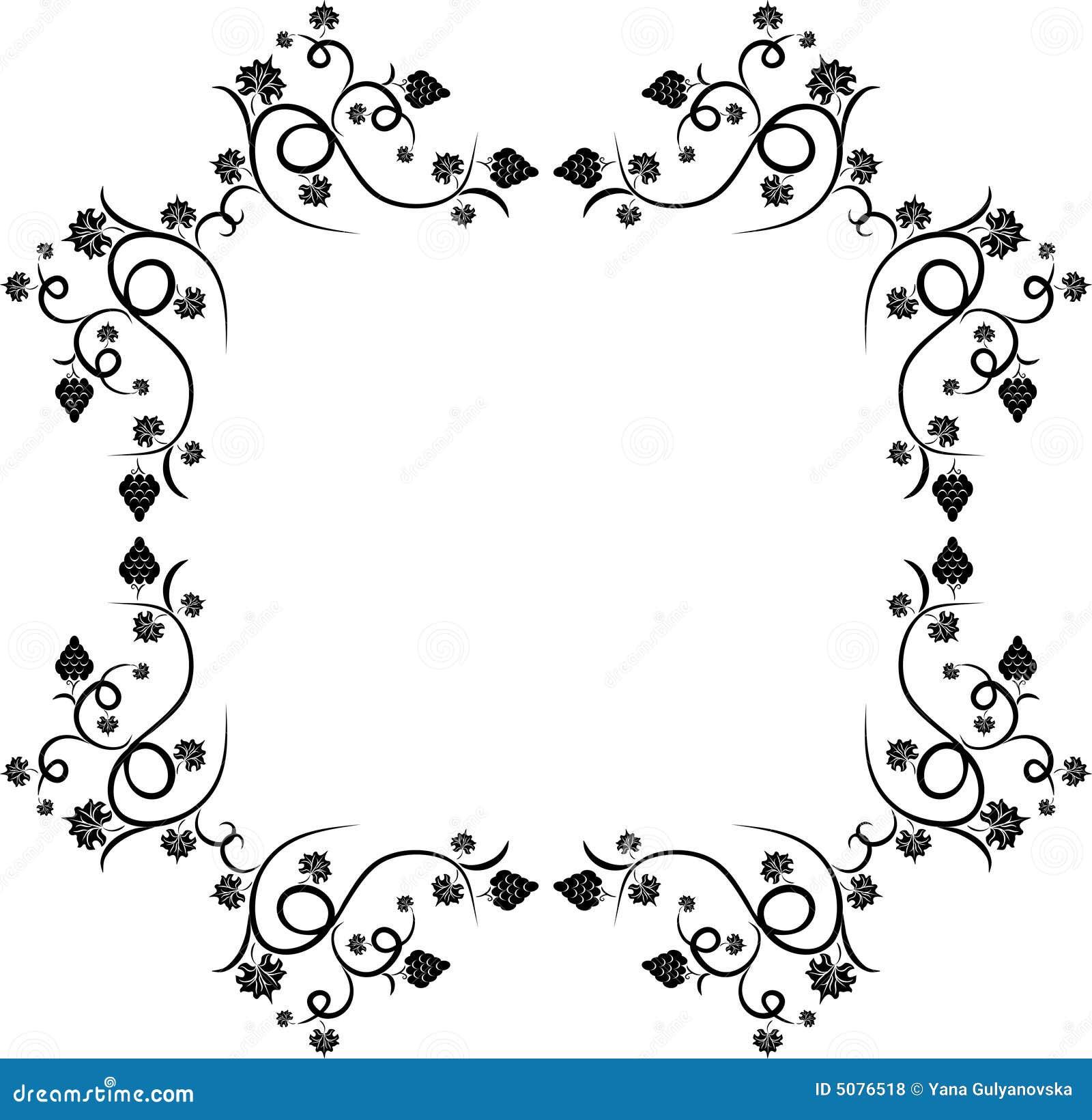 Floral Grape Design Frame Royalty Free Stock Photos - Image: 5076518